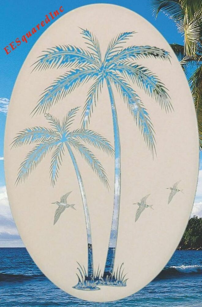 New Oval 8x12 Right Leaning Palm Trees Window Decal Glass