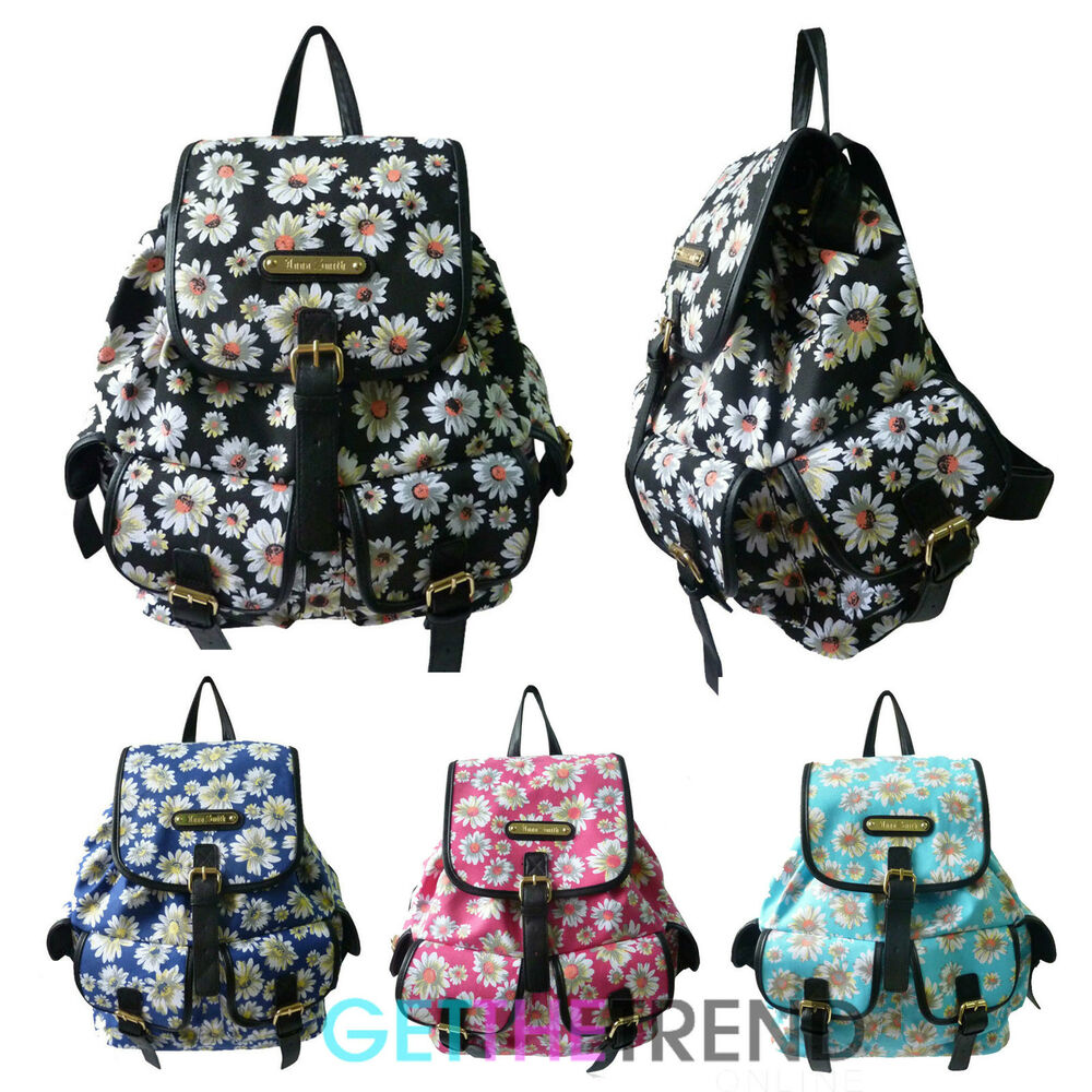 anna smith daisy flower rucksack ladies designer floral girls school backpack
