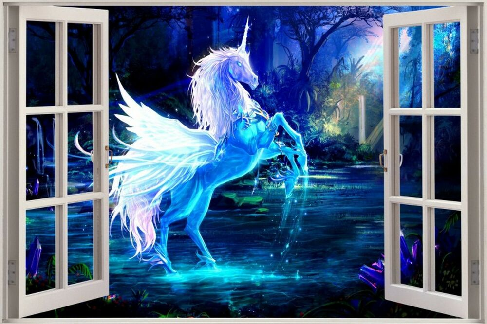 Huge 3d window view fantasy unicorn pegasus wall sticker for Sticker mural 3d