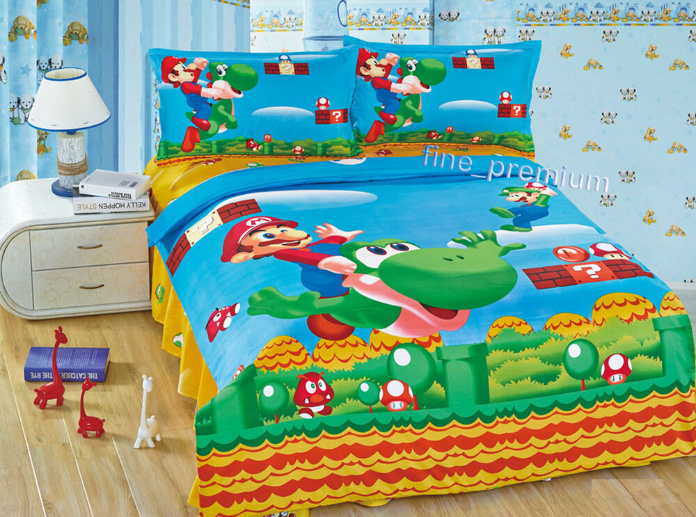 Mario Bros Luigi Yoshi Duvet Cover Pillow Case Flat Sheet