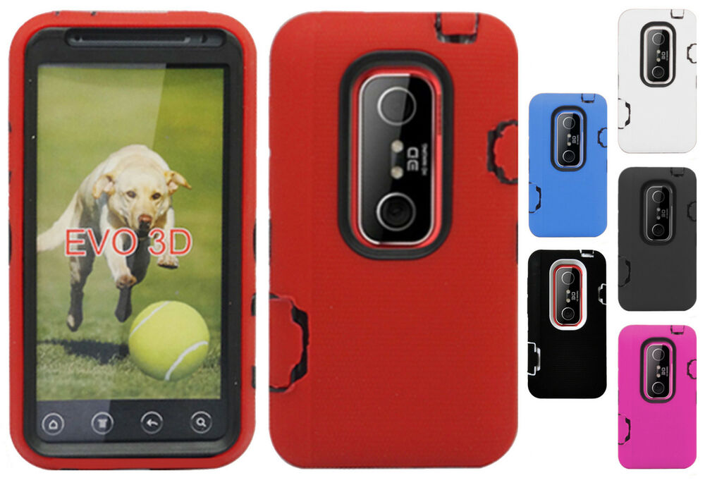 For HTC EVO 3D IMPACT RESISTANT Hard Rubberized Phone Case Cover ...