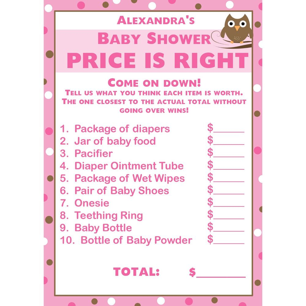24 Baby Shower Price is Right Game Cards - Pink Owl | eBay