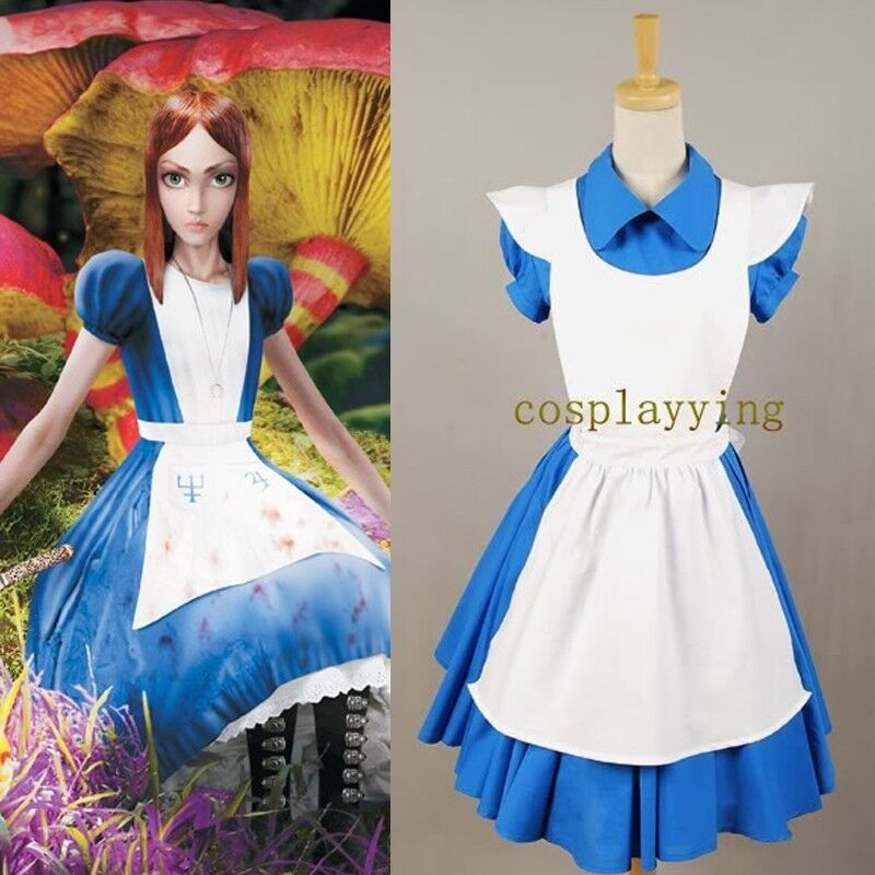 Alice in Wonderland Movie/Film Blue Cosplay Costume Outfit ...