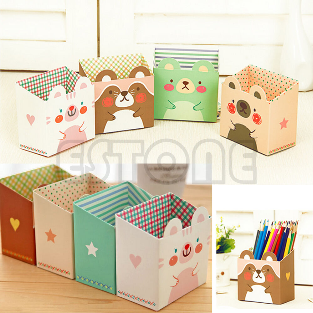 Diy paper stationary makeup cosmetic desk organizer - Cute desk organizer ...