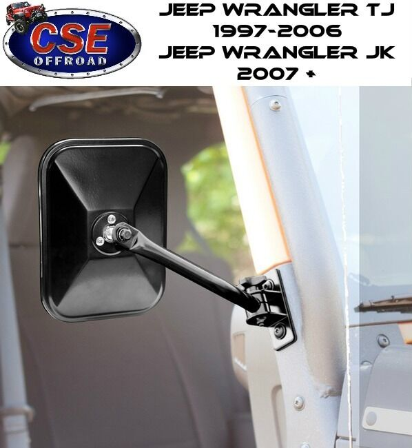 Rectangular Black Quick Release Mirror Jeep Wrangler Tj Jk
