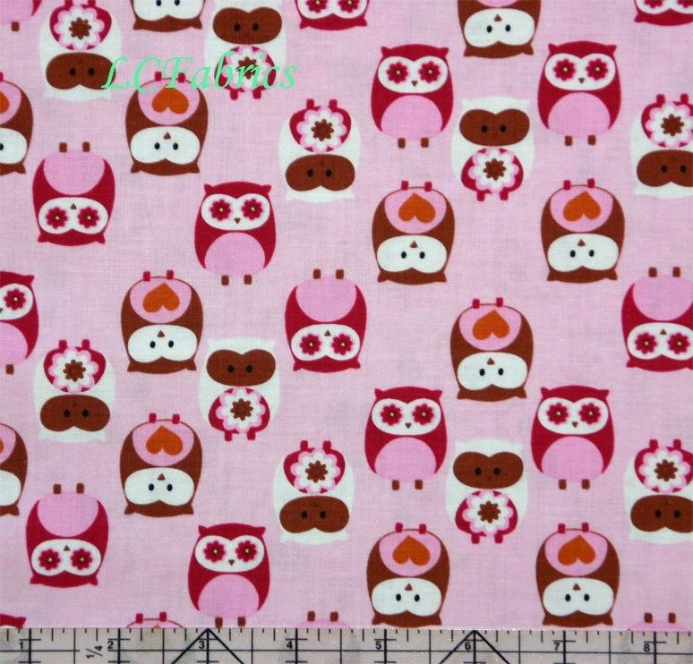 Cute Owl Pink Cotton Quilt Fabric | eBay
