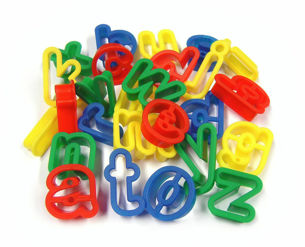 26 plastic play dough cookie cutters lower case letters a for Playdough letter cutters