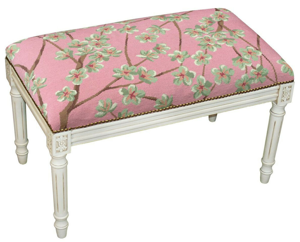 Benches Flower Blossoms Upholstered Bench Vanity Bench Rose Needlepoint Ebay