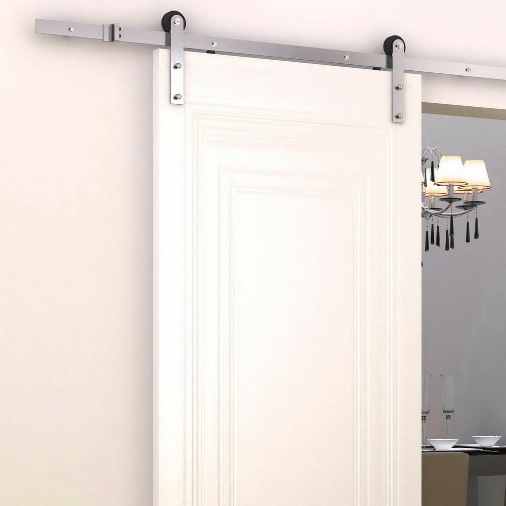 Sliding Barn Door Track : Homcom ft modern antique steel sliding barn wood door