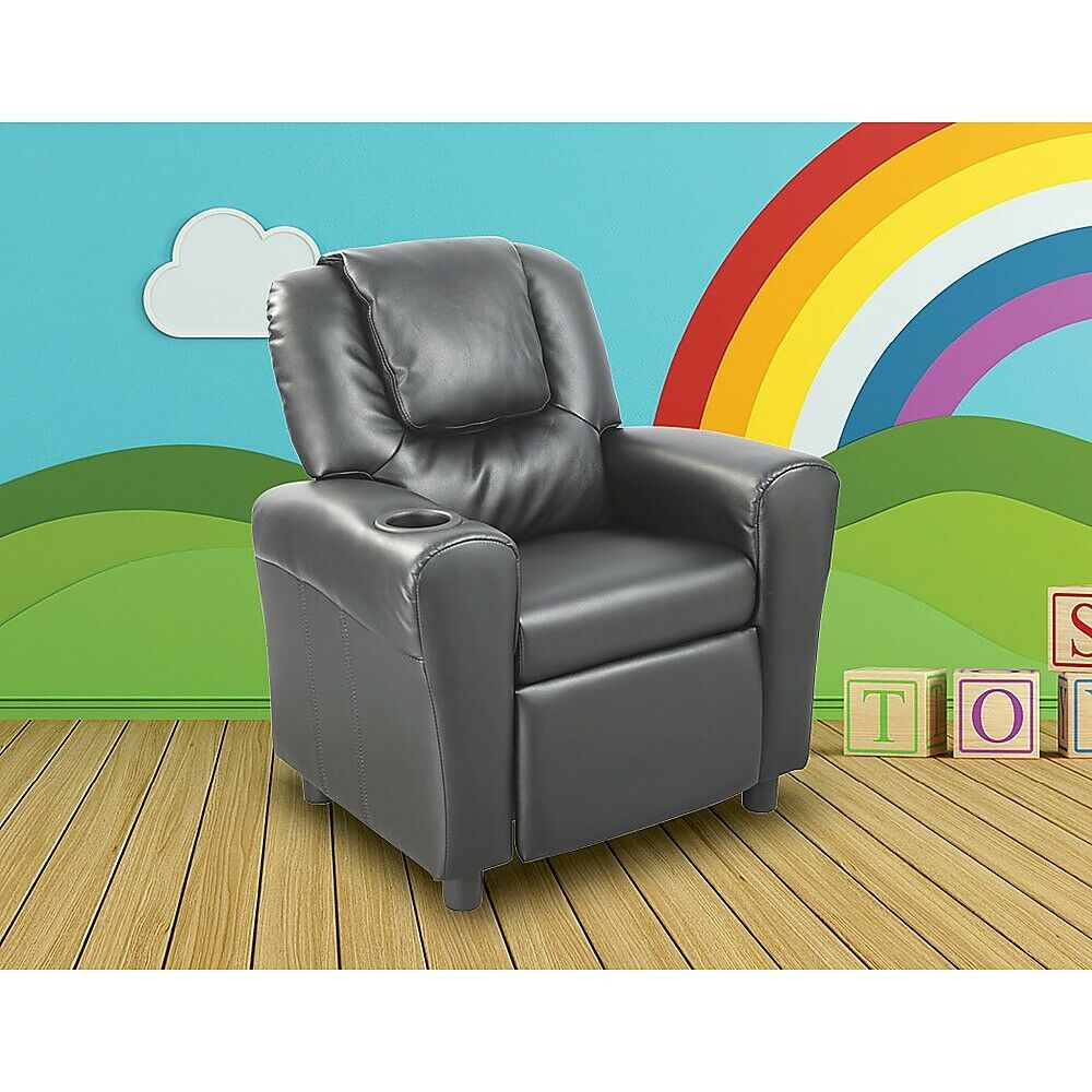 Pu leather kids childrens recliner lounge chair sofa with for Toddler lounge chair