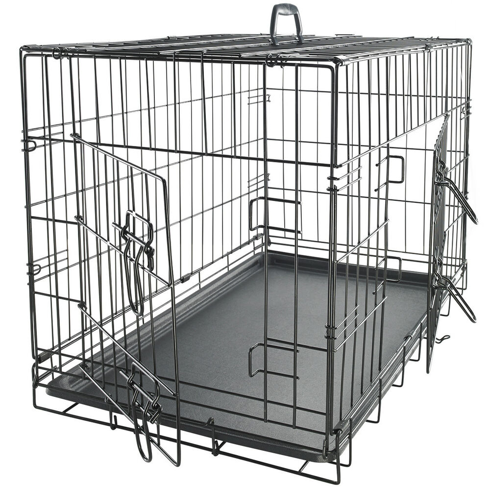 Metal Shelter Cat Kennels : Oxgord quot pet kennel cat dog folding steel crate animal