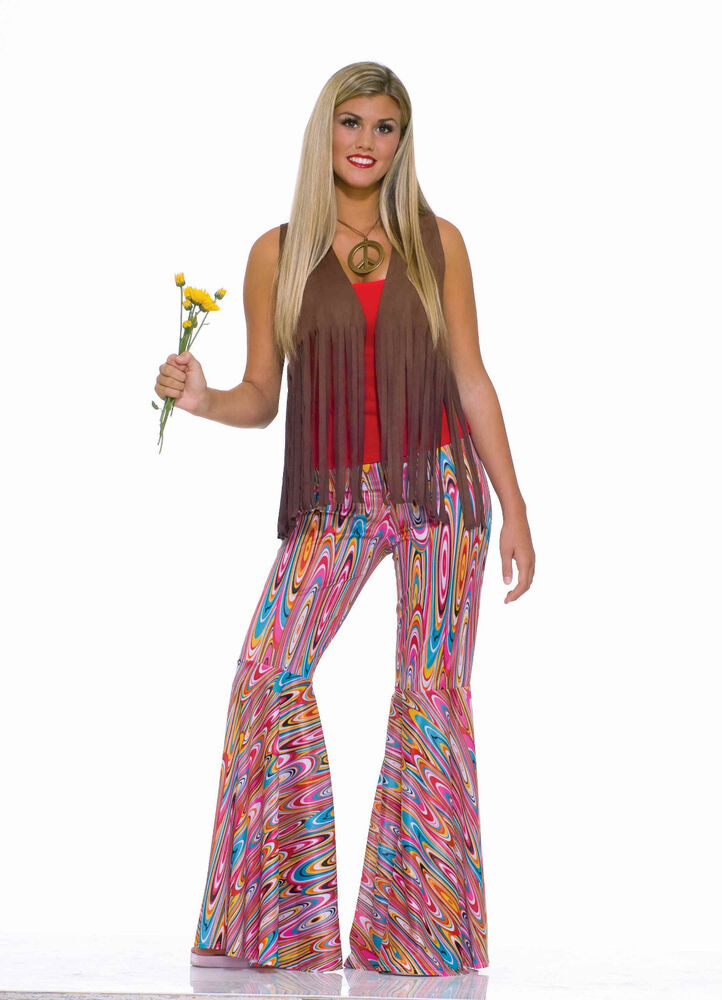 Adult Hippie Go Go 60s 70s Wild Swirl Bell Bottom Pants ...