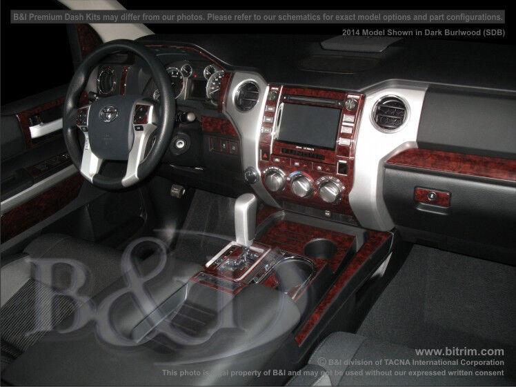toyota tundra 2014 2015 dash trim kit wood carbon fiber aluminum ebay. Black Bedroom Furniture Sets. Home Design Ideas