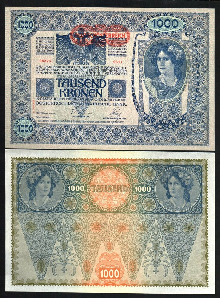 AUSTRIA 1000 KRONEN P61 1902 EURO LARGE SIZE UNC CURRENCY