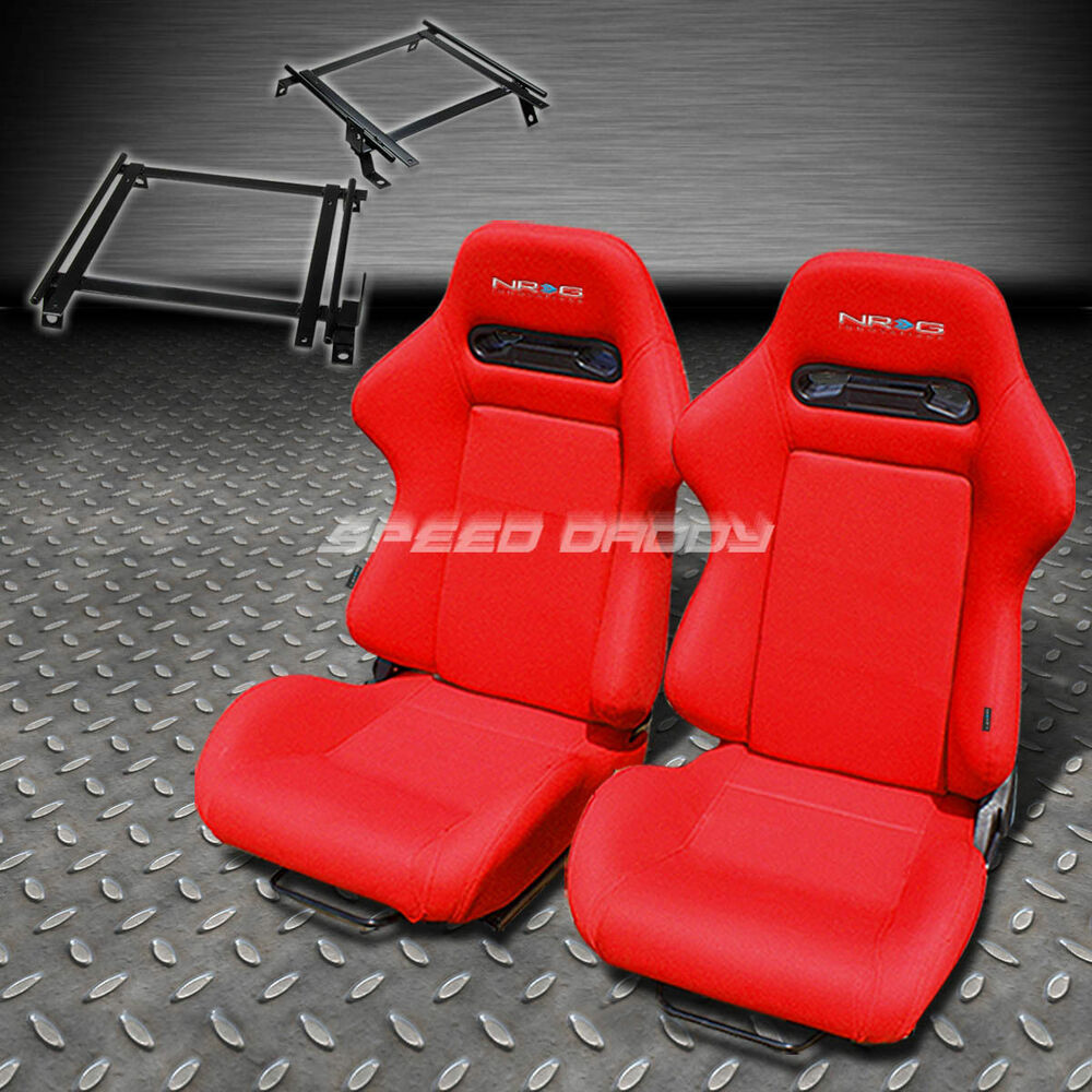 Pair Nrg Type R Style Red Cloth Racing Seat Bracket For 90