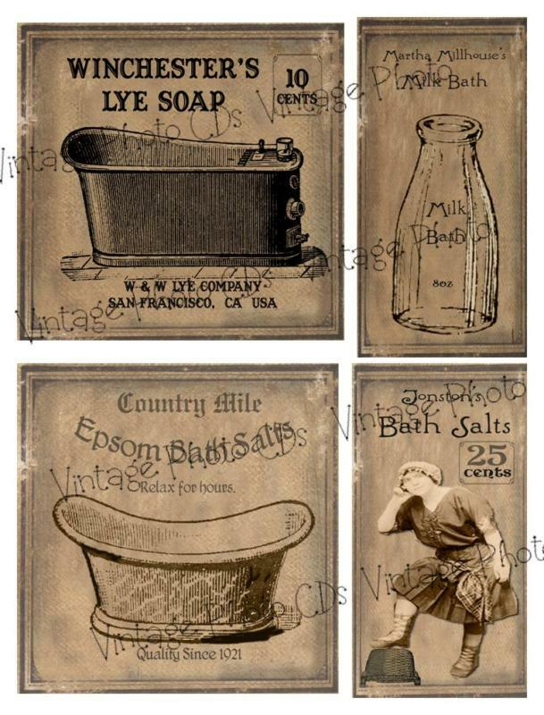 Primitive farmhouse milk bath labels set fh70 ebay for Vintage bathroom printables