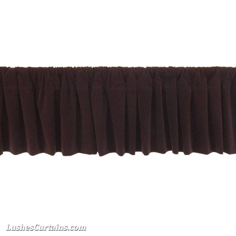 Window Treatments Brown Rod Pocket Curtain Topper Velvet Valance Panel ...