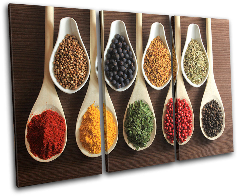 Spices indian food kitchen treble canvas wall art picture for Art of indian cuisine