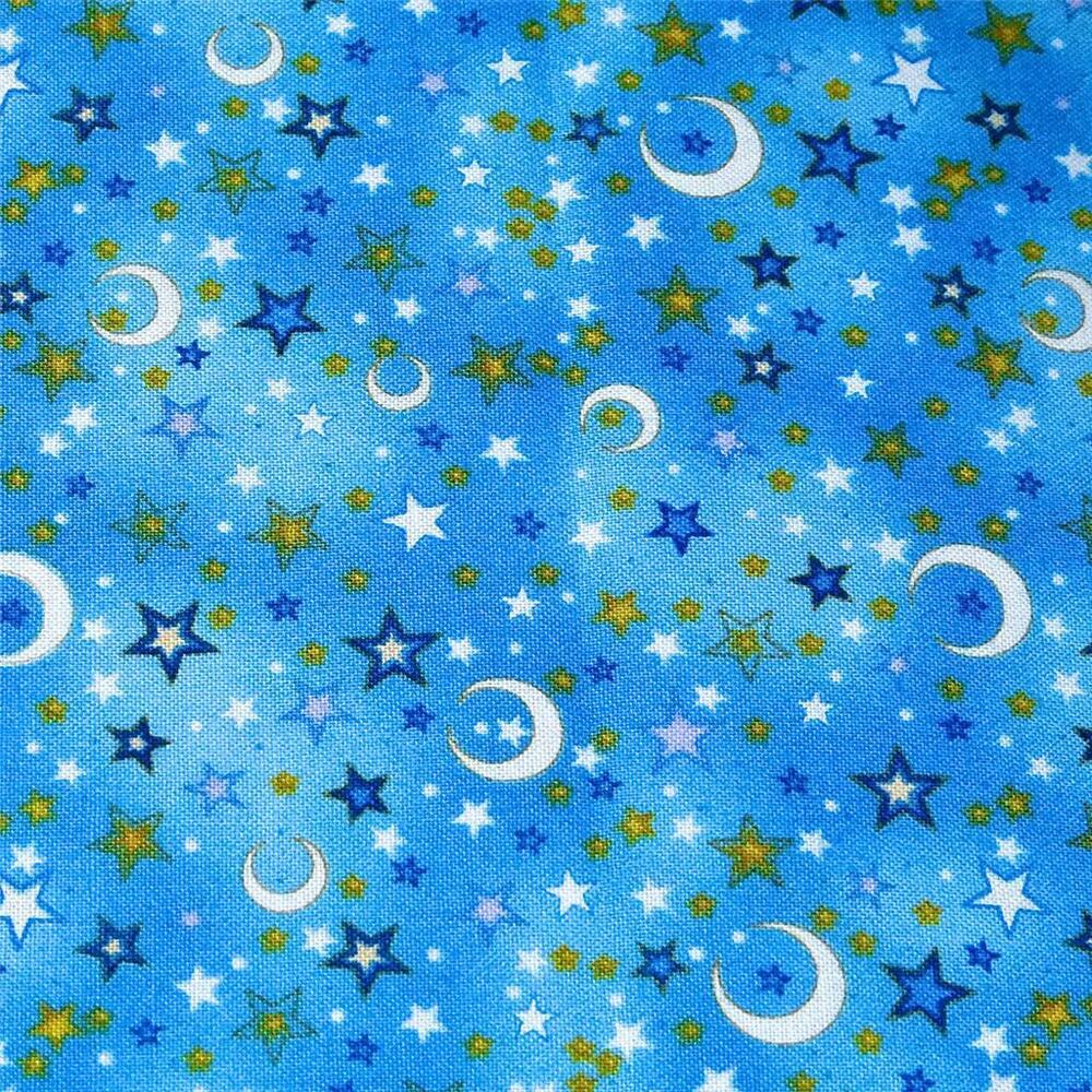 Cotton fabric per yard crescent moons stars gold for Baby fabric by the yard