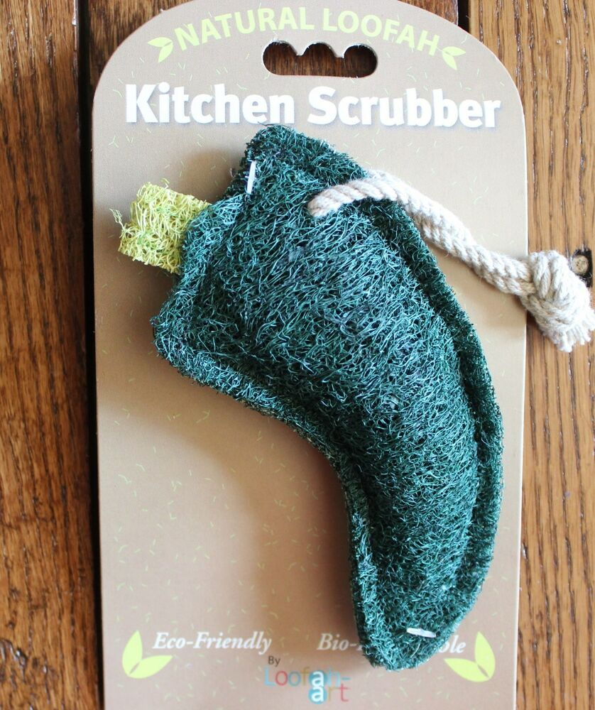 Kitchen Scrubber Natural Loofah Green Pepper Eco Friendly