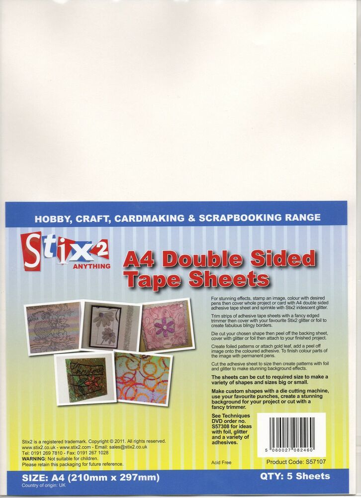 Stix2 Permanent A4 Double Sided Tape Sheets X 5 Acid Free
