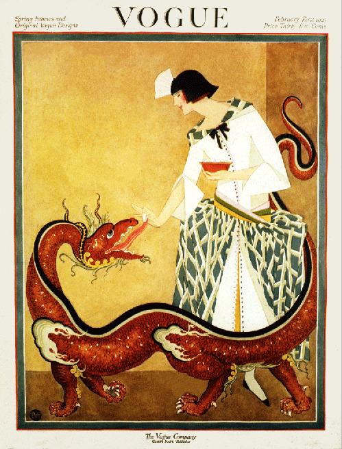 women 39 s fashion magazine cover deco pet dragon 1923 art poster print sku2559 ebay. Black Bedroom Furniture Sets. Home Design Ideas