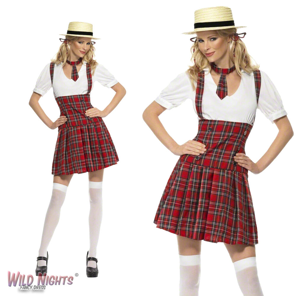 fancy dress costume ladies tartan schoolgirl uniform