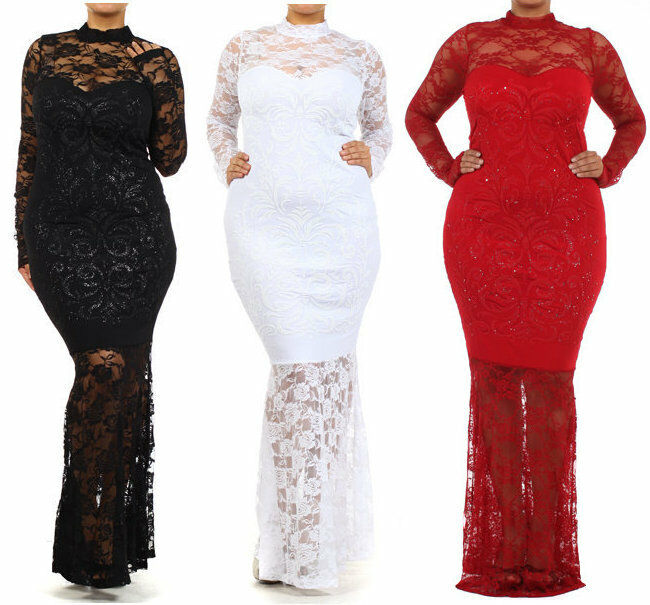 Plus size floral lace mesh mermaid maxi dress gown long for Long sleeve turtleneck wedding dress