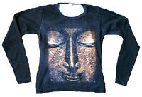 GOLD BUDDHA Statue Religion Designer Tattoo Star Poster Picture Long T-SHIRT S