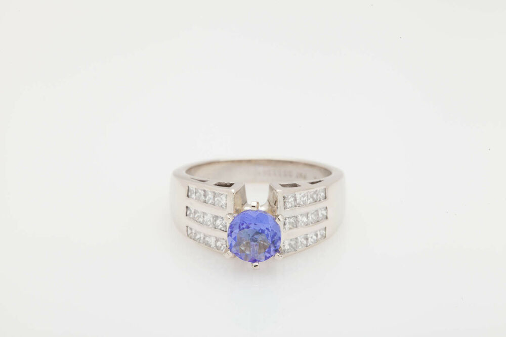 Estate $8000 3ct Tanzanite Princess Cut Diamond 14k White Gold Wedding Ring