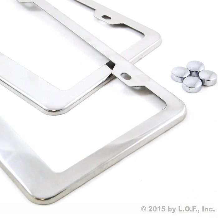 2 Stainless Steel Polished License Plate Frames Plain