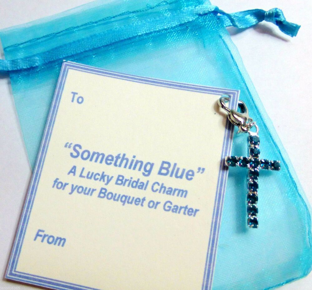 Blue Bridal Bouquet Charm : Something blue crystal cross clip on lucky bridal charm