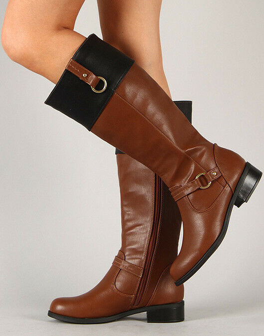 equestrian pu leather knee high boot black