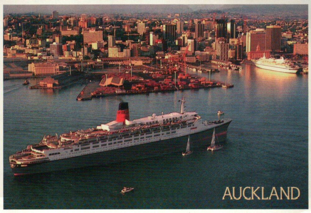 Cruise Ship In The Harbor Of Auckland New Zealand