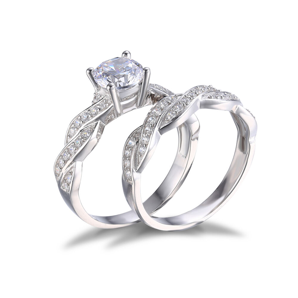 5ct cz wedding bridal sets ring solid 925 sterling silver ebay