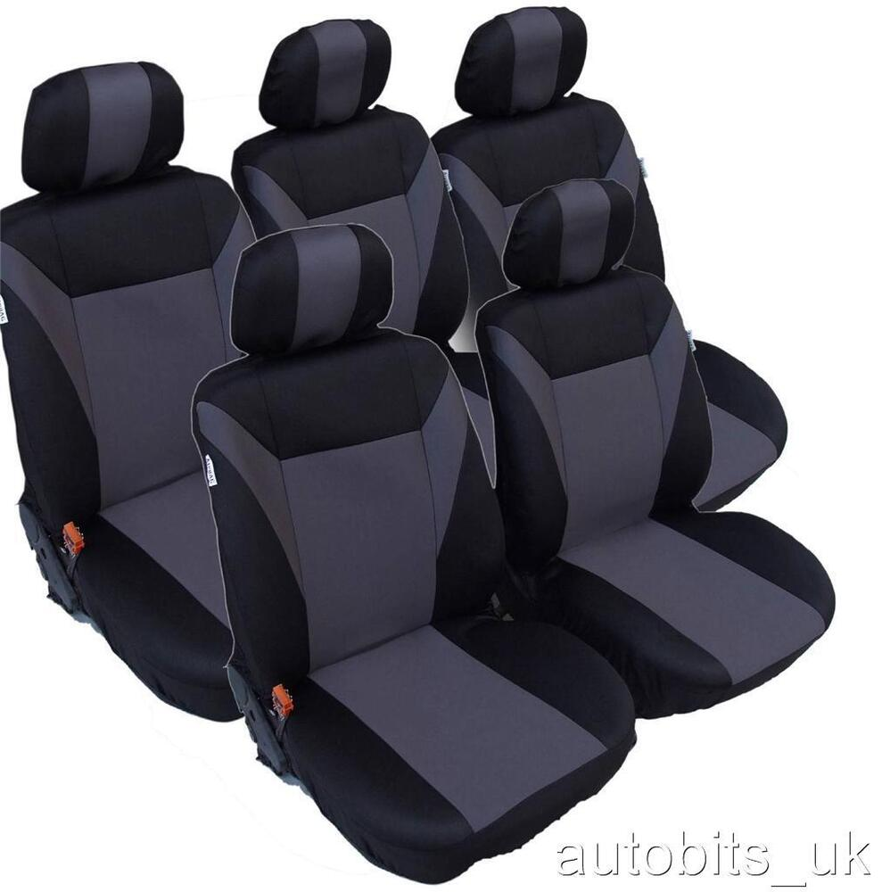 Grey black 5x fabric full set seat covers for citroen c8 for Housse xsara picasso