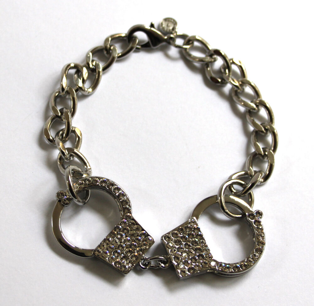 butler and wilson clear silver tone chain handcuff