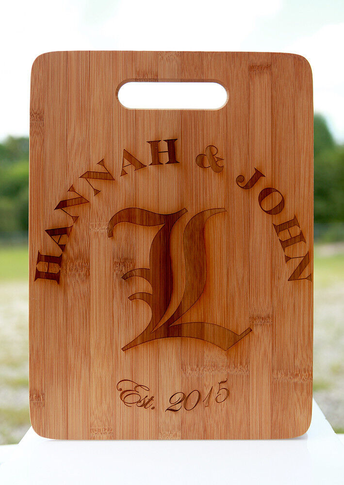large engraved personalized bamboo cutting board for a wedding housewarming gift ebay. Black Bedroom Furniture Sets. Home Design Ideas