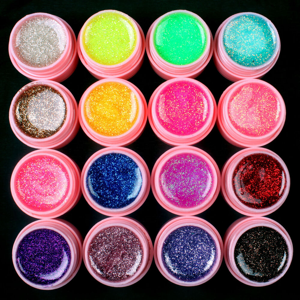 New 16 Pcs Glitter Mix Color Uv Gel Acrylic Builder Set