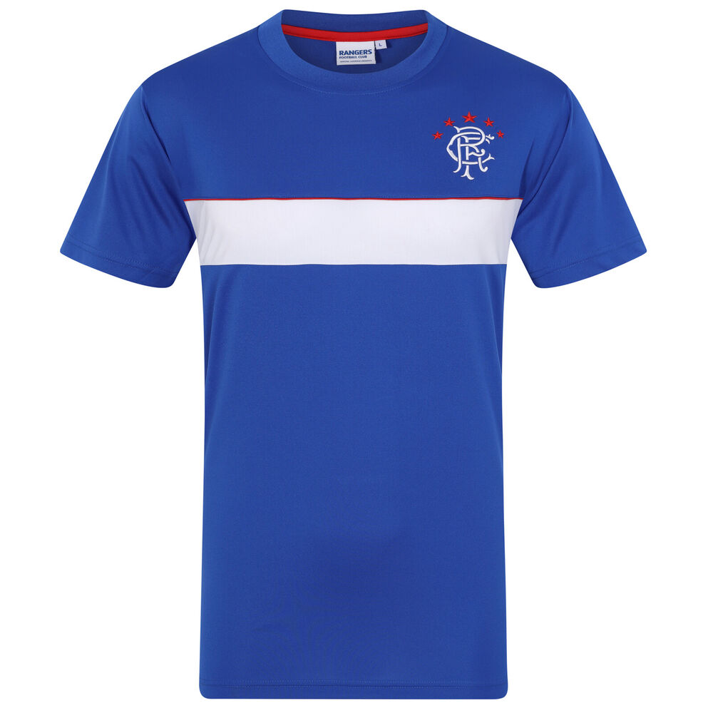 Details about Rangers FC Official Football Gift Mens Poly Training Kit T- Shirt a60668aba