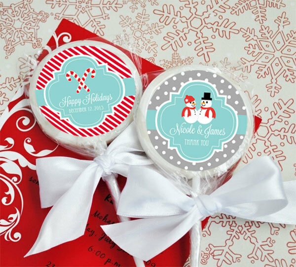 Christmas Wedding Favors: 24 Winter Holiday Personalized Lollipops Lollipop Holiday