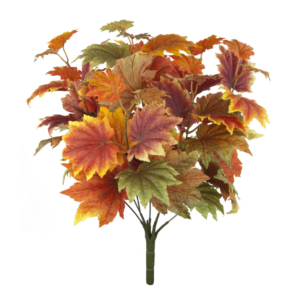 Autumn Leaves Maple Bush 42cm Artificial Silk Leaf Fall Decoration