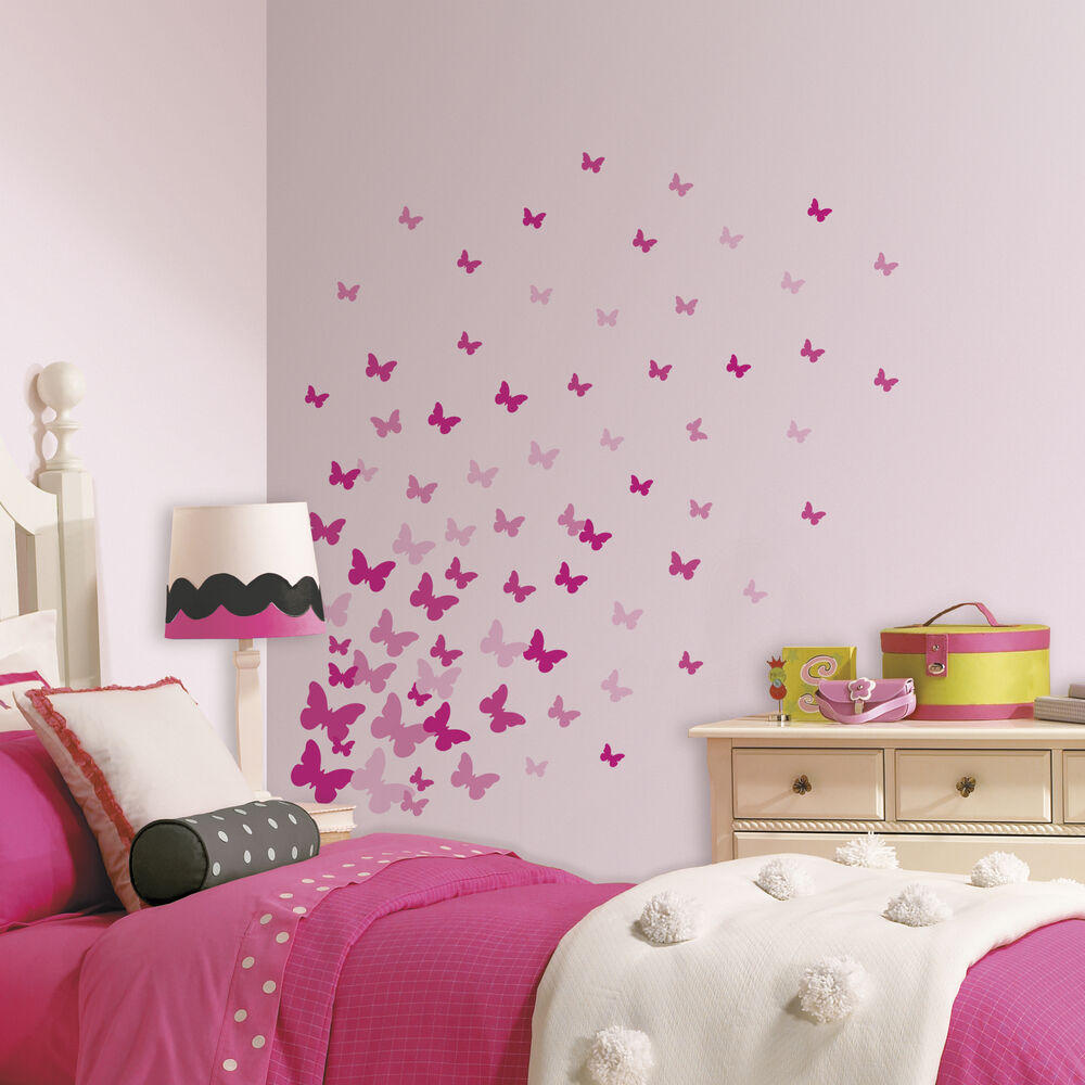 75 New PINK FLUTTER BUTTERFLIES WALL DECALS Girls