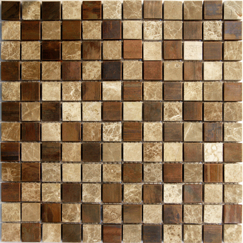 1sf Emperor Marble Copper Metal Blends Mosaic Tile Kitchen Backsplash Spa Floor Ebay