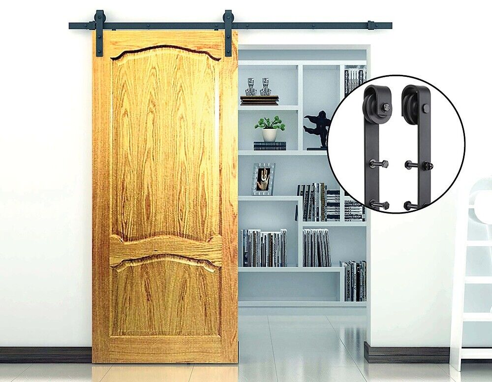 Sliding barn door hardware steel rustic interior closet for Metal barn doors