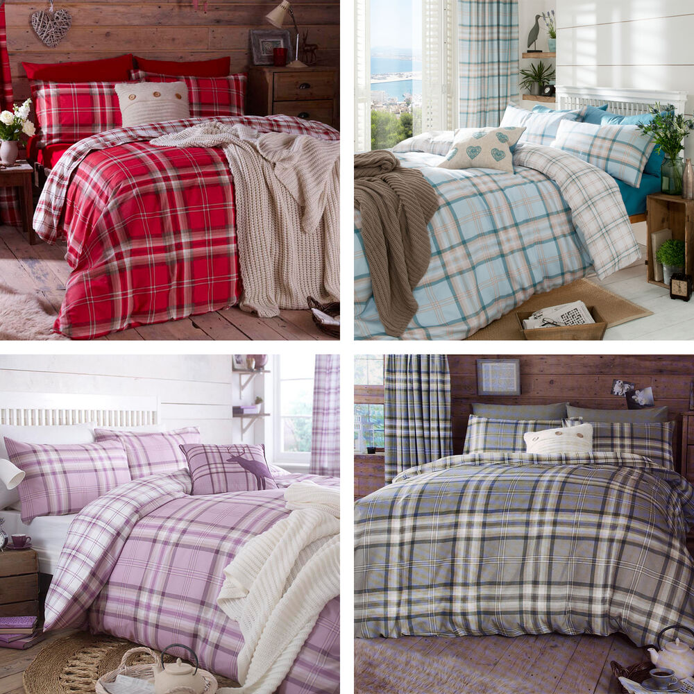Catherine Lansfield Kelso Tartan Check Cotton Rich Duvet