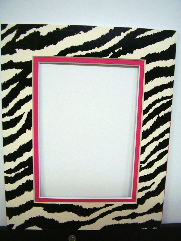 Picture Frame Double Mat 9x12 For 5x7 Photo Zebra Black