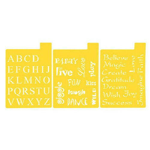 Set Of 3 Stencil Sheets Font And Phrases Stencils Letters Words Alphabet Ebay