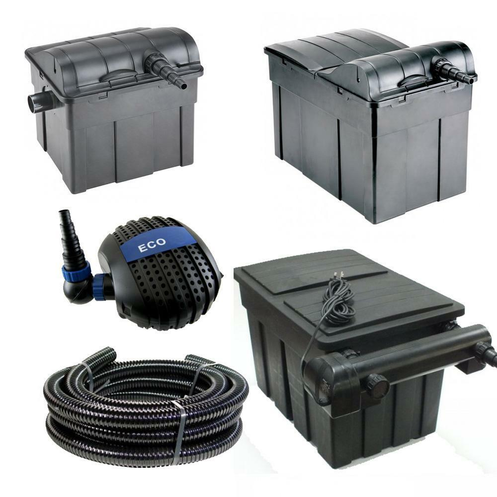 Jebao ubf koi pond fish filter box uv steriliser system for Set up pond filter system