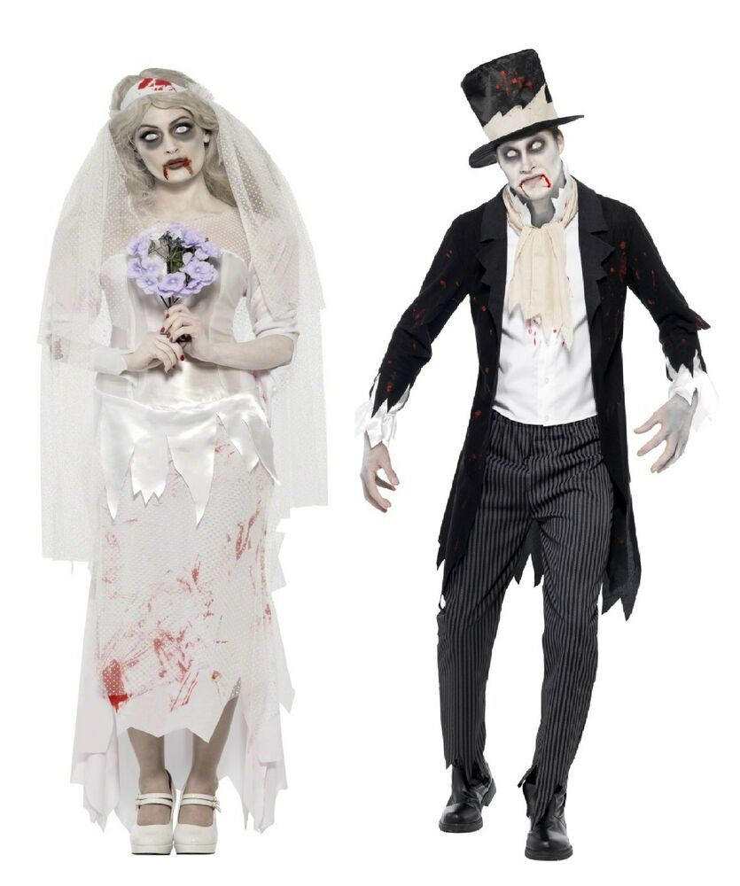 mens ladies couples fancy dress zombie bride groom halloween costumes outfits ebay. Black Bedroom Furniture Sets. Home Design Ideas
